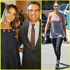 Jessica Alba Meets With Los Angeles Mayor Eric Garcetti