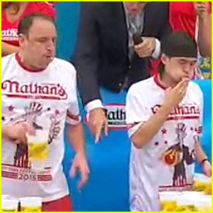 Joey Chestnut Gets Upset By Matthew Stonie at Hot Dog Eating Contest (Video)