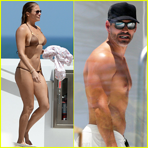 LeAnn Rimes Hangs Poolside In Gold Bikini with Shirtless Eddie Cibrian!
