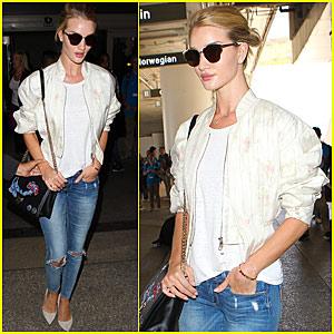 Rosie Huntington Whiteley Returns to LA After Paris Fashion Week