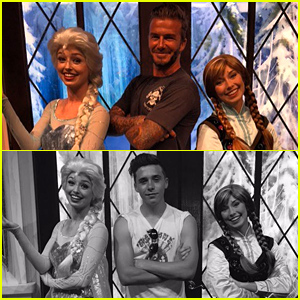 David Beckham Makes Harper's Day By Posing with Frozen's Elsa & Anna at Disneyland!