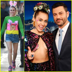Miley Cyrus Wears Heart Pasties to 'Jimmy Kimmel Live' - Watch Her Interview!