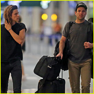 Zachary Quinto & Boyfriend Miles McMillan Share Cute Plane Photos!