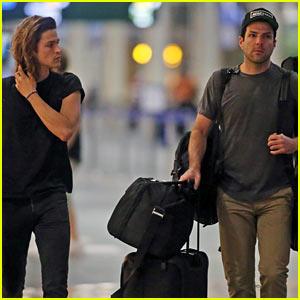 Zachary Quinto & Boyfriend Miles McMillan Share Cute Plane Photos!