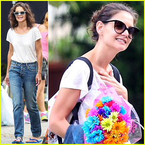 Katie Holmes Greeted With Bouquet Of Flowers On 'All We Had' Set!
