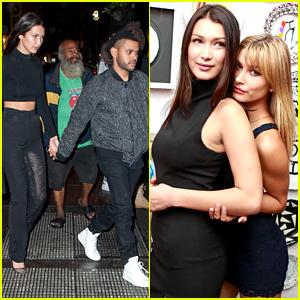 The Weeknd & Bella Hadid Hold Hands at Rihanna's Party