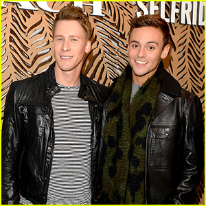 Tom Daley & Dustin Lance Black Take on London Fashion Week