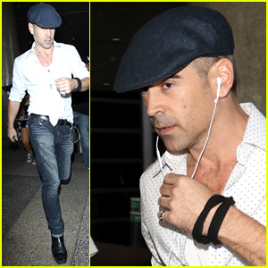Colin Farrell Flies into LA After 'The Lobster' UK Release