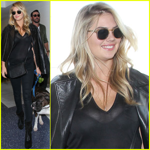 Kate Upton Shows Some Cleavage in Sheer Black Top