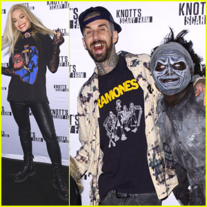 Rita Ora & Travis Barker Head To Knott's Scary Farm After Relationship Reveal