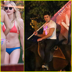 Zac Efron Rides Horse for 'Neighbors 2' Party With Chloe Moretz