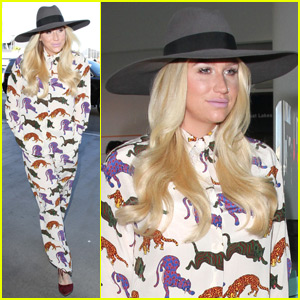 Kesha Heads Home for Thanksgiving in a Cat Print Onesie