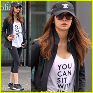 Nina Dobrev Wears Thomas Haden Church's Hairpiece on 'Crash Pad' Set