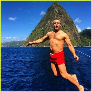 Andy Cohen Shows Off Fit Shirtless Bod While Jumping Off Boat