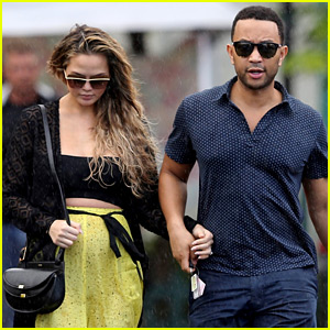 Chrissy Teigen & John Legend Hold Hands Before Their Baby's Gender Reveal!