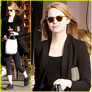 Emma Stone Steps Out For Casual Bite To Eat In Santa Monica