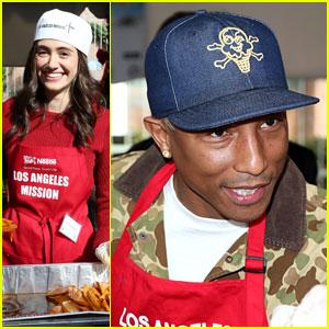 Emmy Rossum & Pharrell Williams Feed Homeless on Christmas Eve
