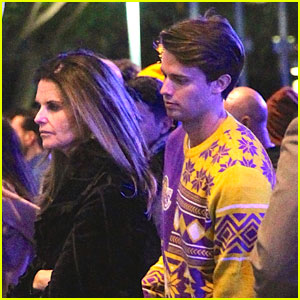 Patrick Schwarzenegger Spends Christmas at a Lakers Game