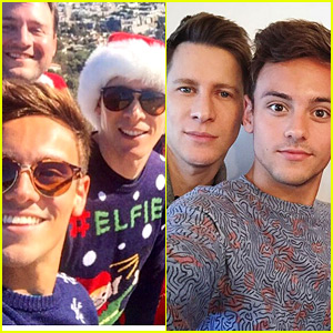 Tom Daley & Dustin Lance Black Go Hiking in Christmas Sweaters