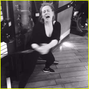 Adele Cries While Working Out in Hilarious Gym Photo