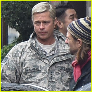 Brad Pitt Sports Gray Hair on 'War Machine' Set in Paris