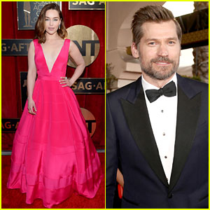 Emilia Clarke Is Pretty in Pink at SAG Awards 2016 with Nikolaj Coster-Waldau!