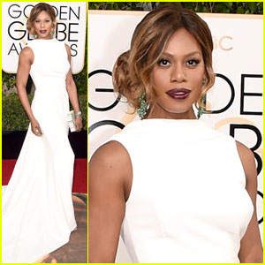 Laverne Cox is a Vision in White at Golden Globes 2016