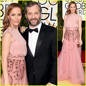 Leslie Mann & Judd Apatow Are Adorable Twosome At Golden Globes 2016!