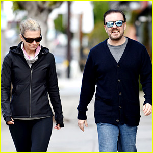 Ricky Gervais & Partner Jane Fallon Step Out Before the Globes!