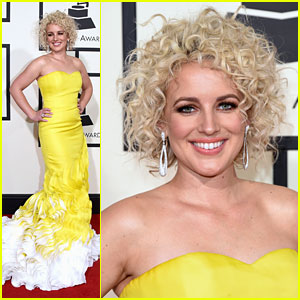 Cam Glows in a Yellow Ruffled Gown at 2016 Grammys!