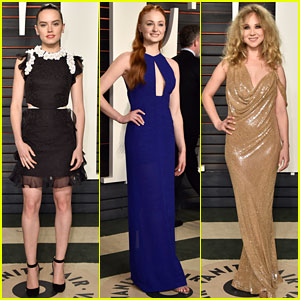 Daisy Ridley & Sophie Turner Switch Up Their Looks for Vanity Fair Oscar Party 2016!