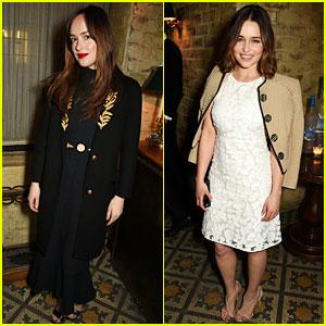 Dakota Johnson & Emilia Clarke Are Burberry Babes Before the BAFTAs
