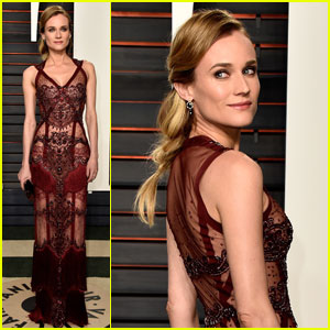 Diane Kruger Shows Skin in Sheer Gown at Oscars 2016 Party