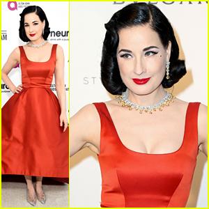 Dita Von Teese Rocks Sexy Red Dress at Elton John's Oscar Party