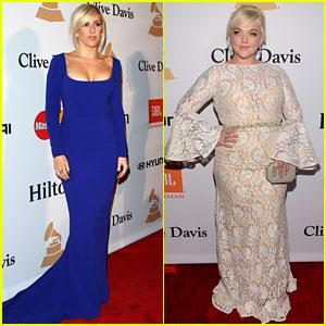 Ellie Goulding & Elle King Prep for Grammys at Clive Davis' Party
