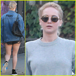 Jennifer Lawrence Rocks 'Perv' Jacket for Casual Lunch in L.A.