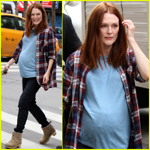 Julianne Moore Sports a Fake Baby Bump While Out in NYC