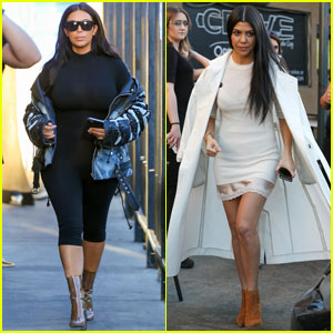 Kim & Kourtney Kardashian Film 'KUWTK' at Crave Cafe