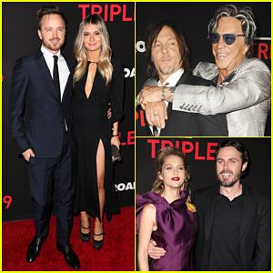 Norman Reedus & Aaron Paul Join 'Triple 9' Cast At L.A Premiere!