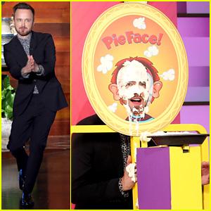 Aaron Paul & Wife Lauren Take Pies to the Face on 'Ellen' - Watch Now!