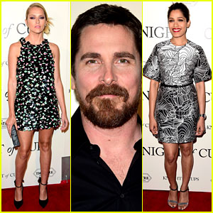 Christian Bale Premieres 'Knight of Cups' with Teresa Palmer & Freida Pinto!