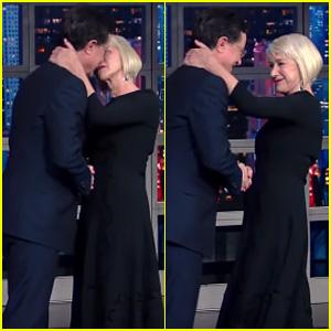 Helen Mirren Kisses Stephen Colbert, Leaves Him Speechless - Watch Now!