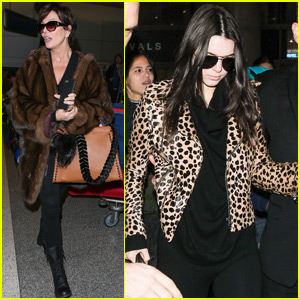 Kris Jenner Spots Kendall on the Big Screen at a Parisian Airport