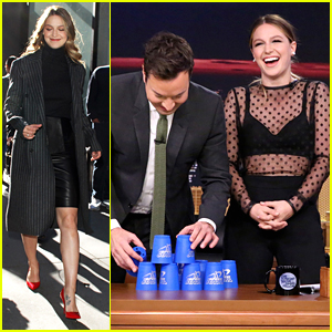 Melissa Benoist Tries To Teach Jimmy Fallon The Art of Cup Stacking