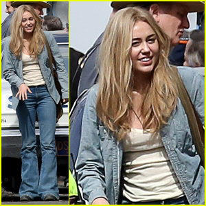 Miley Cyrus Films With Police Car For Woody Allen Project