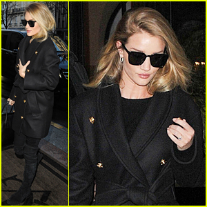 Rosie Huntington-Whiteley Makes a Chic Arrival in Paris