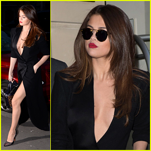 Selena Gomez Rocks Sexy Slit Dress While Out in Paris For Fashion Week
