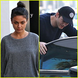 Ashton Kutcher & Mila Kunis Grab Lunch with a Group