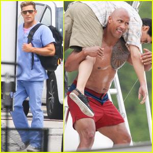 Dwayne Johnson Films a Rescue Scene on 'Baywatch' Set