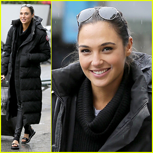 Gal Gadot Bundles Up for Travels on Rainy Day in Paris